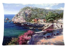 Wholesale Decorative Most Beautiful Spanish Costa Brava Watercolor Painting Pillow Case quot x30 quot two sides