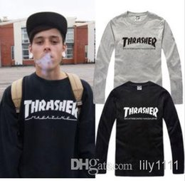 Wholesale Chinese Size S XXXL Retail Tee new sale long sleeve t shirt thrasher printed t shirt hiphop tops Cotton color