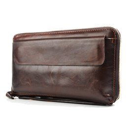 Wholesale-MS Mens' Vintage Genuine Leather Clutch Purse Men Business Clutch Hand Bag Cowhide Wallet