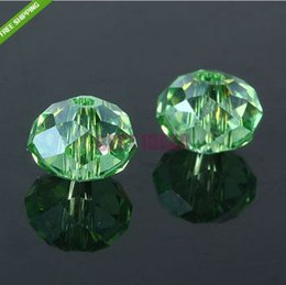 Free Shipping!140pcs Apple Green color Cut&Faceted Glass Beads.Crystal Glass Rondelle Spacer Loose Beads 8mm