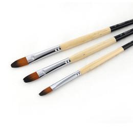 Wholesale Nylon Hair Paint Brush Set Long Handle Artist Watercolor Acrylic Oil Painting Supplies
