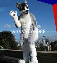 Wholesale High quality Gray wolf imitation fur material Mascot Costumes Birthday party walking cartoon Apparel Adult Size
