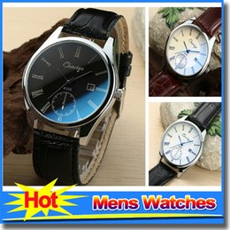 Wholesale Best Fashion Wristwatch Blue Light PU Leather Band Strap Mens Watches For Business Luxury Cool Watches