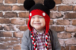 Wholesale New Arrival Cute Baby Caps Handmade New Minnie Mouse Style Crochet Hat Crochet Hat Children Handmade Knitted Cpas Beanie Knitted Hat Caps
