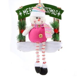 Wholesale 2015 Animated Merry Christmas Decor Pink Snow Man Artificial Flowers Square Garland New Year Door Decorations Ornament For Home