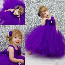Newest Purple Cute Flower Girls' Dress Princess Gown Handmade Flowers First Communion Custom Made Long Puffy Tulle Flower Girls