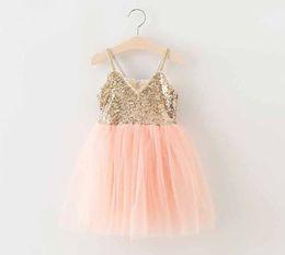 Summer new Princess Dress Children's Dresses Suspender Lace Gauze Tulle Veil Fairy Girl Vest Sundress Sequins Party Dressy Pink Grey A5037