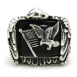 Wholesale 316L Stainless Steel Flying Eagle Flag Ring Band Party Fashion Jewelry Mens Band Party Cool Design Biker Flying Eagle Ring