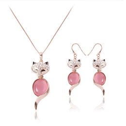 Newest Fox Necklace Earrings Jewelry Sets For Women Fashion Party Jewelry Sets High Quality Alloy Opal Jewelry CAL11041I