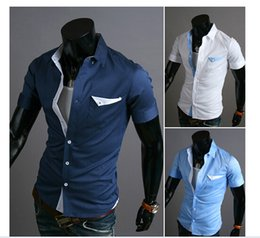 Wholesale-summer Men fashion Patch decoration short sleeve Shirts blouses free shipping