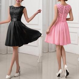 Wholesale-Sexy Women Lace Chiffon Dress Sleeveless O-neck Knee Length Solid Dress S M L XL XXL