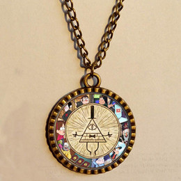 Wholesale GRAVITY FALLS BILL CIPHER WHEEL necklace Dipper Pines Antique Glass Pendant jewelry Hot chain Picture Art