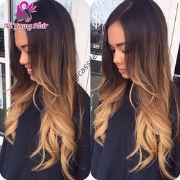 Wholesale Natural hairline virgin brazilian glueless full lace wigs human hair ombre front lace wigs wavy blonde color b with baby hair