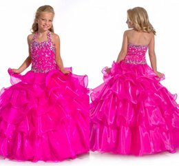 Nouveau 2015 balle en main Robes Tutu robes de demoiselle volants en organza perlée Halter col ouvert Retour Robes la Chine Pagent Party Hot Sales à partir de robes de pagent perles fournisseurs