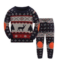 Christmas Children Pajamas sets Pyjamas Boys two piece Sleepwear Reindeer Warm homewear 2017 new Winter