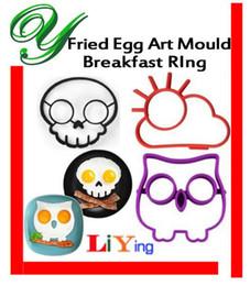Wholesale silicon egg ring Egg Mold Pancake Moulds Egg Tools set Owl Hoot Bird Skull cloud Fried Egg Art Kitchen gadget creative funny egg holder tray