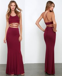 Wholesale Two Pieces New Sparking Evening Dresses Sleeveless Understone Halter Floor Length Thin tape Simple Sexy Mermaid Special Backless Dresses