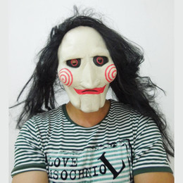Scary Latex Saw Mask with Long Black Hair Movie Mask Creepy Halloween Party Mask free shipping