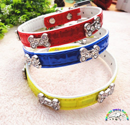 Bling dog collars with bone shape rhinestone studded leather dog collars for small dogs puppy collar red blue yelllow dog collar XQ003