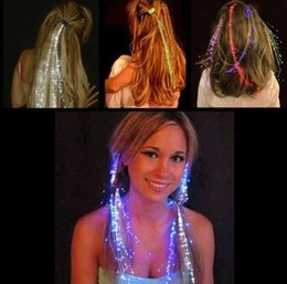 Wholesale Halloween Day Fiber Luminous Braid Multicolor LED Flash Light Optical Fibers Braids Bars Party Birthdays KTV Concerts Hair Holiday light