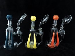Wholesale Newest Glass Recycler Glass Oil Rigs Gorgeous Water Pipes With Tyre Perc Imported USA Colored Rods With High Quality Outlooking
