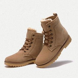 Wholesale Snow Boots fashion winter shoes women suede boots for men lovers botines mujer ladies Brogue Carving Ankle Boots Martin Boots