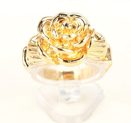 Free Shipping Fashion Women Men 18k Yellow Gold Filled Size 8.5 flower design Wedding Ring Jewelry