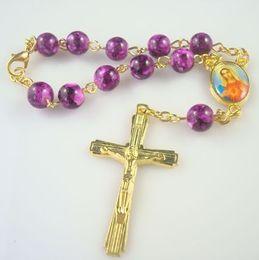 Fashion Religious Antique Glass Beads Rosary Bracelets Catholic Jewelry Metal Cross Rosary Bracelets 8 mm Hot Wholesale