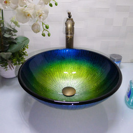 Bathroom tempered glass sink handcraft counter top round basin wash basins cloakroom shampoo vessel bowl HX012