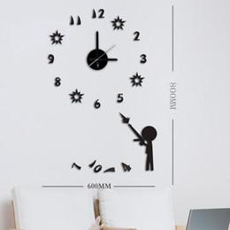 Free Shipping 3D big size wall clock acrylic luminova sticker DIY brief living room decor meeting room wall clock