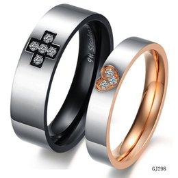 Wholesale Couple Wedding Rings Black Heart - Fashion Jewelry 316L Stainless Steel Rings Black Circle Cross Hearts Couple Rings Wedding Rings Engagement Rings GJ298