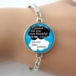 Quote Bangle 'I cannot tell you how thankful I am for our little infinity' Phrase blue, white and black glass bracelet