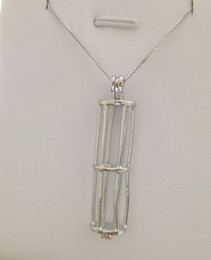 18kgp Pearl Gem Beads Locket Cage Pendant, Cylinder Pendant Mountings Jewelry P10