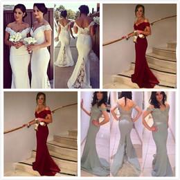 Hot Burgundy Bridesmaids Dresses 2016 Mermaid Off Shoulder Applique Beaded Wedding Women Wear Backless Formal Dress Evening Gray White
