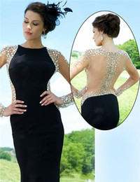 Long Sleeves Mermaid Evening Dresses 2015 With Sheer Back Prom Gowns Crystal Formal Homecoming Dresses Arabic Dresses