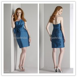 Wholesale Allured Strapless Bridesmaid Dresses Gown Elegant Mini Taffeta Sheath Prom Party Dress RL1044