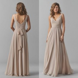 2015 Fall Bridesmaids Formal Dresses Sexy Deep V Neck Elegant Long Sash A Line Backless Champagne Chiffon Bridesmaid Dress Floor Length