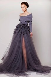 Hand Made Flower Long Sleeve Side Split Tulle Evening Gowns Fashion Sweep Train Party Dress Off Shoulder 2017 New Evening Dresses 017