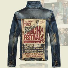 Nouvelle marque Hommes Ruck Imprimé Denim Jacket Ripped Holes Slim Fit Vintage Manteau Qutwear Jeans vêtements Printemps Automne Taille S-XXXL à partir de mince vestes en denim ajustement fabricateur