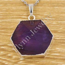 2015 New Charm Amethyst Onyx etc Natural Stone Hexagon Pyramid Reiki Pendant Healing Chakra Amulet Fashion Jewelry 10Pcs