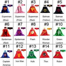 Wholesale 15 styles L70 W70CM Double Side Batman Robin Thor Superman Cape Mask Reversible Superhero Cape Supergirl Cape Mask Wrist Belt