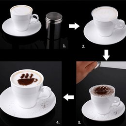 Wholesale 1 Set Stainless Steel Chocolate Shaker Duster Cute Coffee Barista Stencils Strew Pad Kitchen Cooking Tools Accessories
