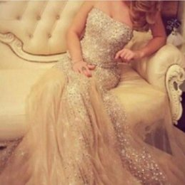 Champagne Prom Dresses 2016 Sexy Mermaid Strapless Blingbling Beaded and Sequined Tulle Evening Dresses robe de soiree