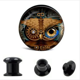 Wholesale 64pcs Acrylic rainbow color logo ear plug screw fit flesh tunnel ear expander stretcher body jewelry