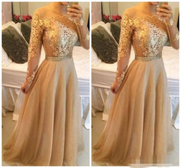 2016 Sexy Backless Lace Long Sleeves A-line Prom Dresses Bateau Tulle Floor Length Prom Gowns Gold Evening Dresses