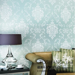 Wholesale Quality fabric mural paper flocking wallpapers Luxury d embossed damask Damascus wallpaper sky blue wall papers for living room