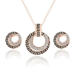 Wholesale 18KGP Crystal Necklace Earrings Sets Ancient Pattern Female Jewelry Sets For Women New year Best Gift F204