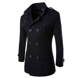 Fall- Fashion Winter Mens Jackets And Coats Duffle Coat Stylish British style Single Breasted Mens Pea Coat Wool Trench Coat