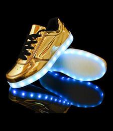 7COLORS LED Shoe Gold Sliver USB Charger Flash Shoe Led starshine Casual Led Lighter Shoe Colorful Shoe Size 36-46 Men Women DHL gift 20pcs