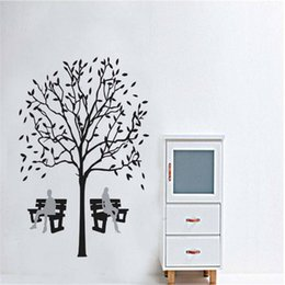 Wholesale Wall Stickers Wall Decals Murals Creative Self adhesive Removable Cartoon Tree Shade Stool Living Room PVC Wall Stickers